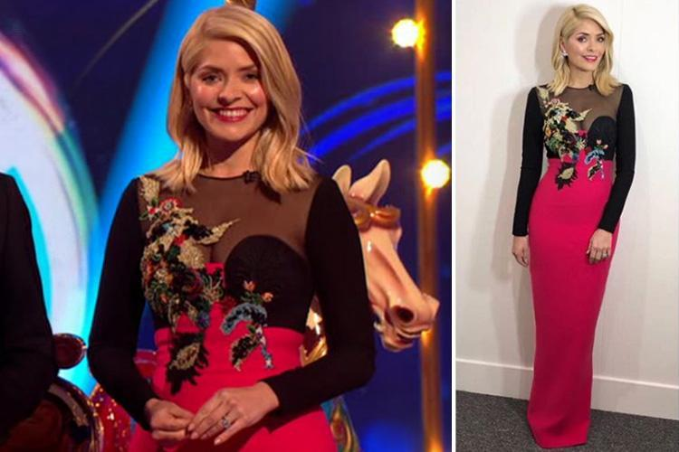 Holly Willoughby stuns in pink and black gown with sexy sheer top for Dancing On Ice