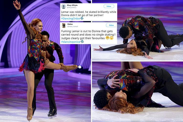 Dancing on Ice viewers furious over Lemar's elimination despite 'fall' and claim Donna Air was 'carried through' the skate-off