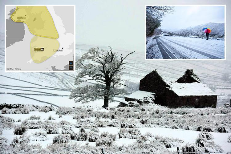 UK weather set to be so freezing mobile phones could be cut off as half-term begins with yellow Met Office warnings of ice, snow and lightning