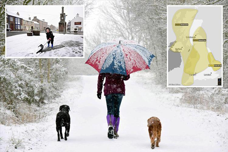 UK weather forecast means Brits could facing freezing conditions for rest of the MONTH as snow and ice set to bring more travel chaos