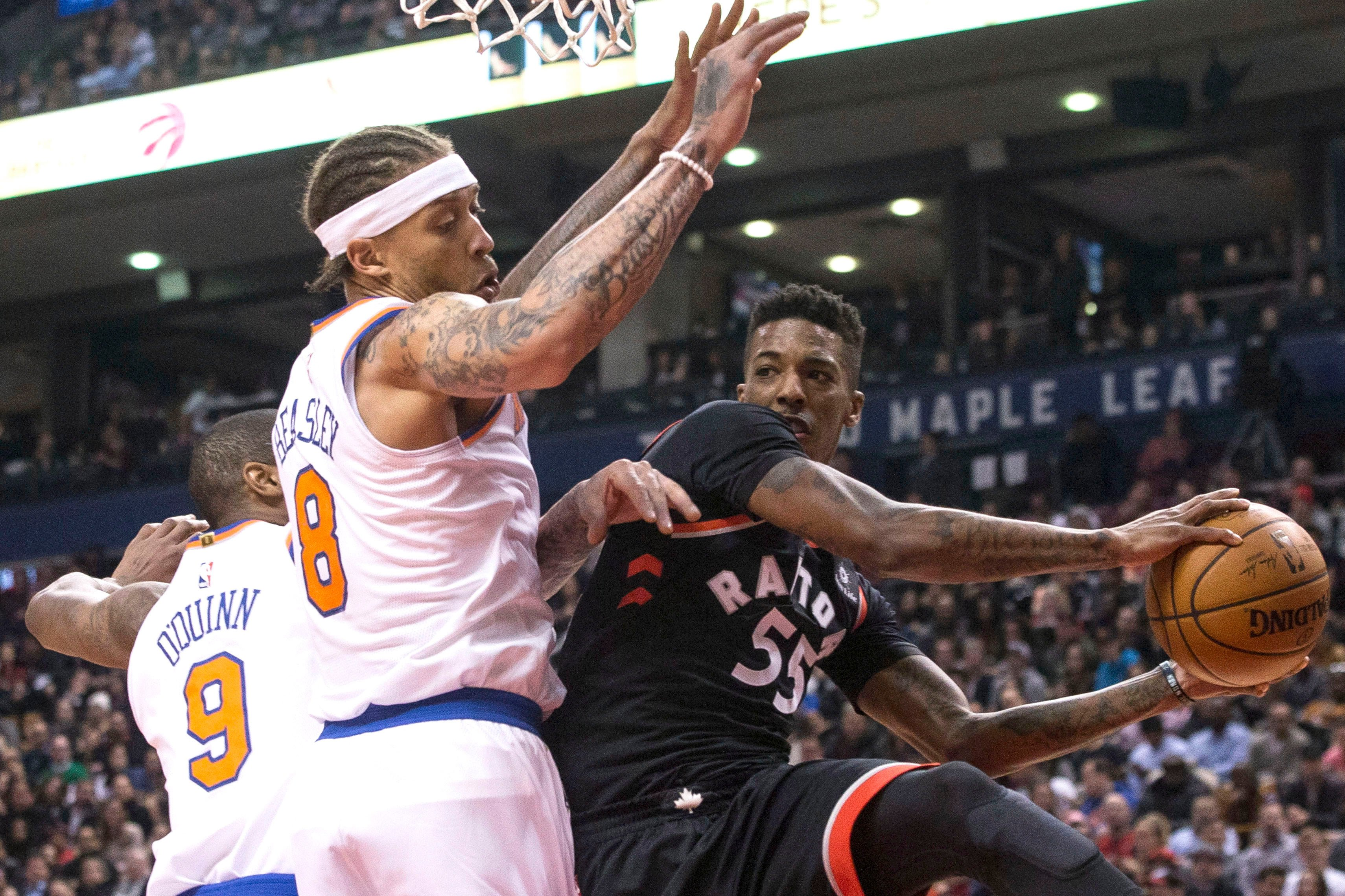 Porzingis-less Knicks pounded by powerhouse Raptors