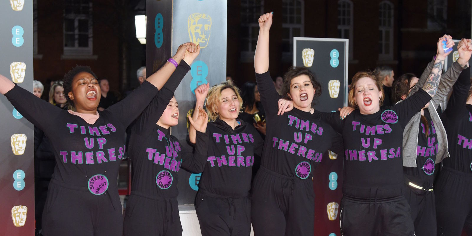 Protesters lie down in the middle of the BAFTA red carpet as part of Time'sUp movement