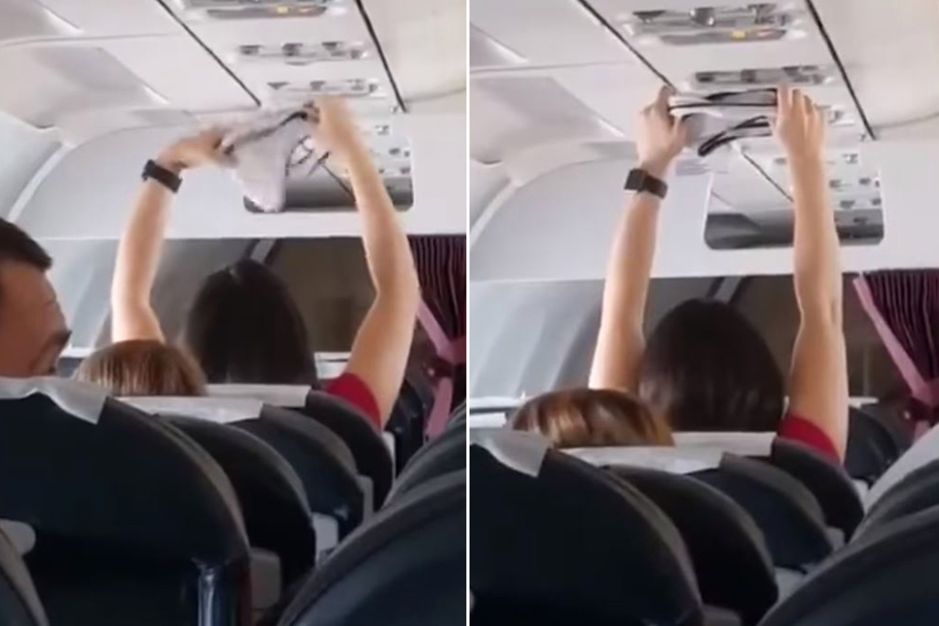 Woman seen drying underwear on air vent during packed flight