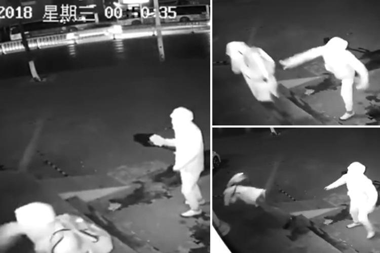 Hilarious moment idiot burglar knocks his pal out cold by accidentally chucking a brick at his head