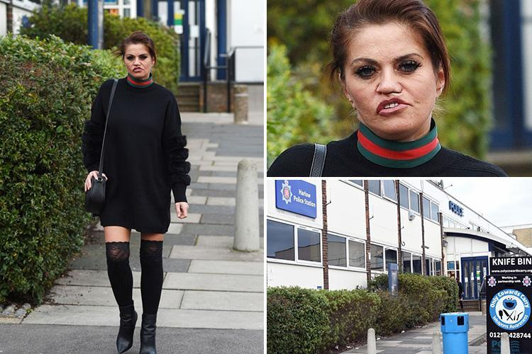 Terrified Danniella Westbrook pictured at the police station as she reports stalker who threatened to kill her and her kids