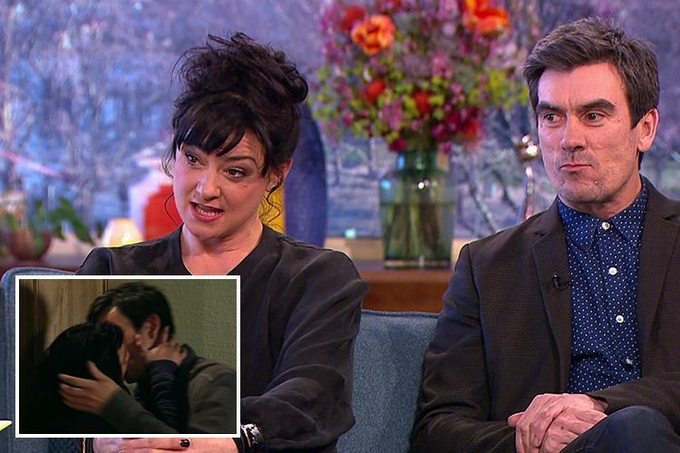 Emmerdale's Natalie J Robb and Jeff Hordley slap each other on the bum in between scenes to 'improve their chemistry' together