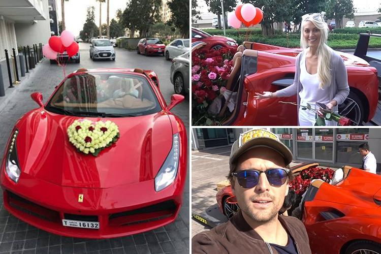 Husband surprises wife with a brand new Ferrari filled with 1,000 red roses saying he wanted to 'blow her mind'
