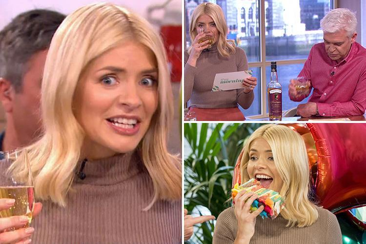 Holly Willoughby knocks back whisky and prosecco on This Morning and tucks into a rainbow cake to celebrate her 37th birthday