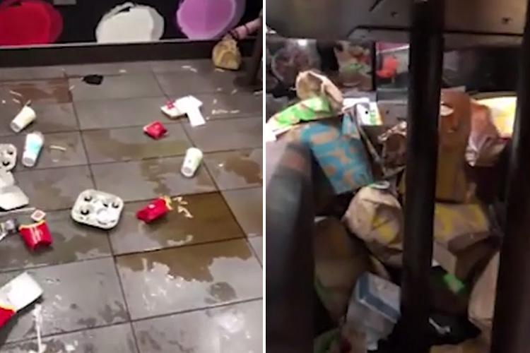 Disgusting mess in McDonald's with piles of food and rubbish under the tables and mess all over the floor revealed in stomach-churning video