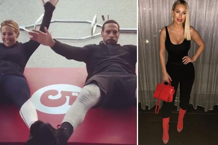 Kate Wright shows off the results of her sweaty work-outs with Rio Ferdinand as she hits the town in a skin-tight black outfit