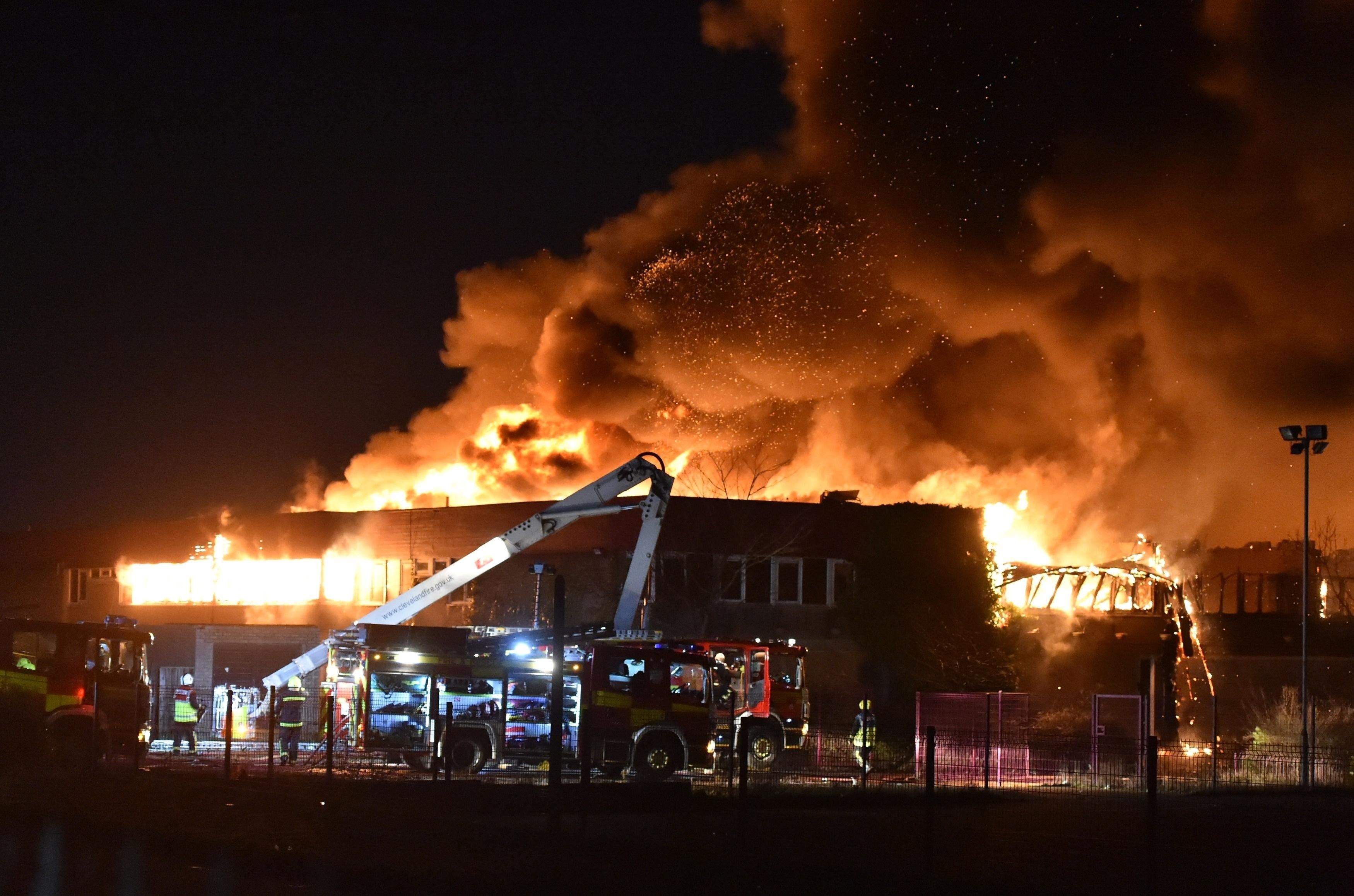 Massive fire breaks out at former school in Teesside with residents told to 'keep windows shut'