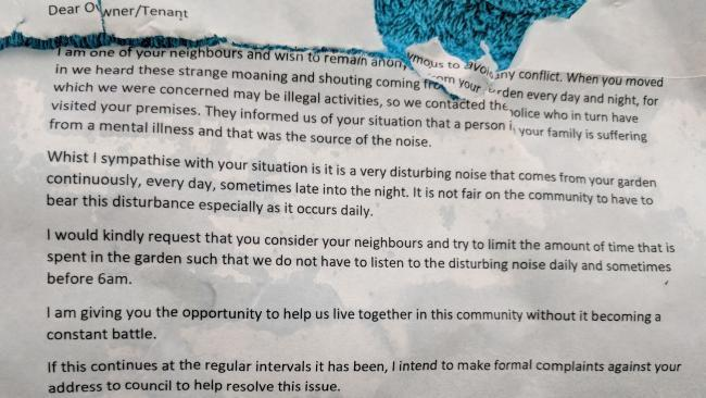 Mum outraged by neighbours' anonymous letter demanding her autistic teen son be kept indoors because he they don't like his 'strange moaning'