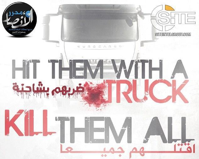 Evil ISIS fanatics urge new truck rampage attacks in the West in sick new propaganda poster featuring a bloodstained lorry