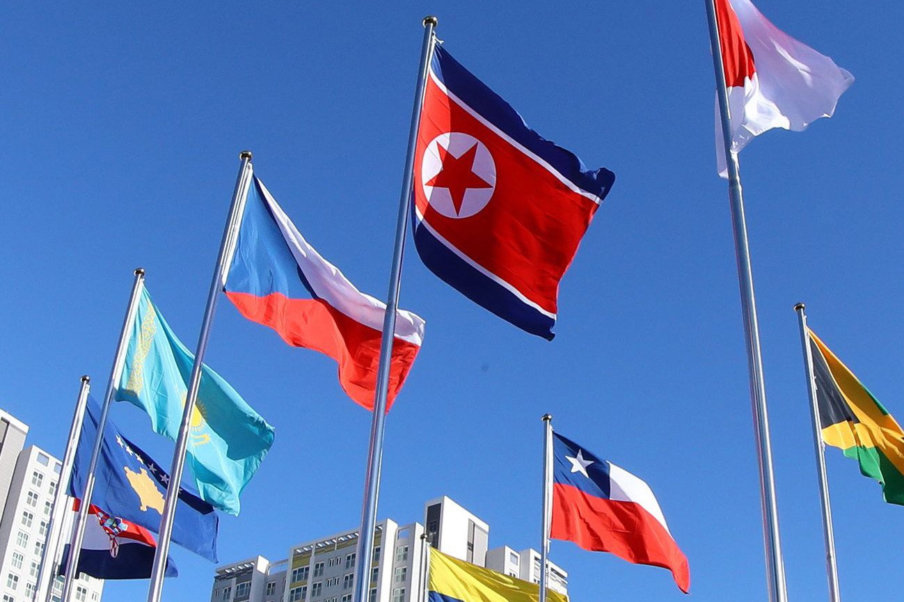 North Korean flag flies in South days before Olympics