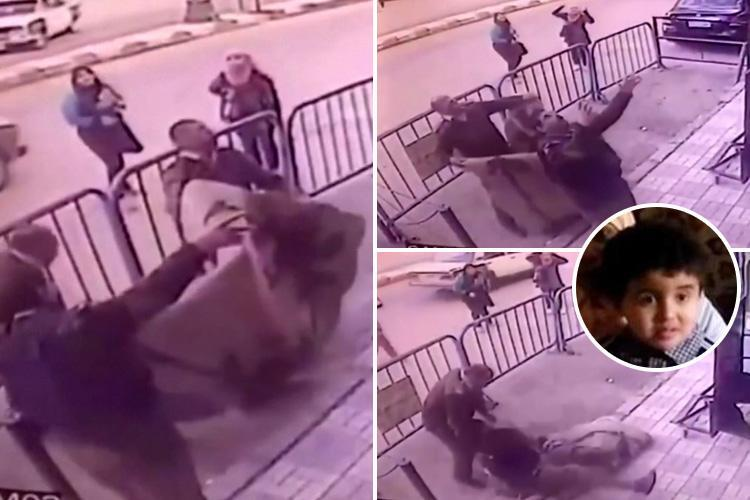 Heart-stopping moment hero Egyptian cop catches boy, 5, after he fell from third storey window at family party
