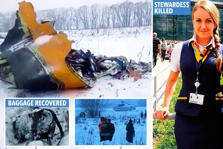 Russian plane crash jet's engine 'exploded mid-air' killing 71 near Moscow as pictures show stewardess killed