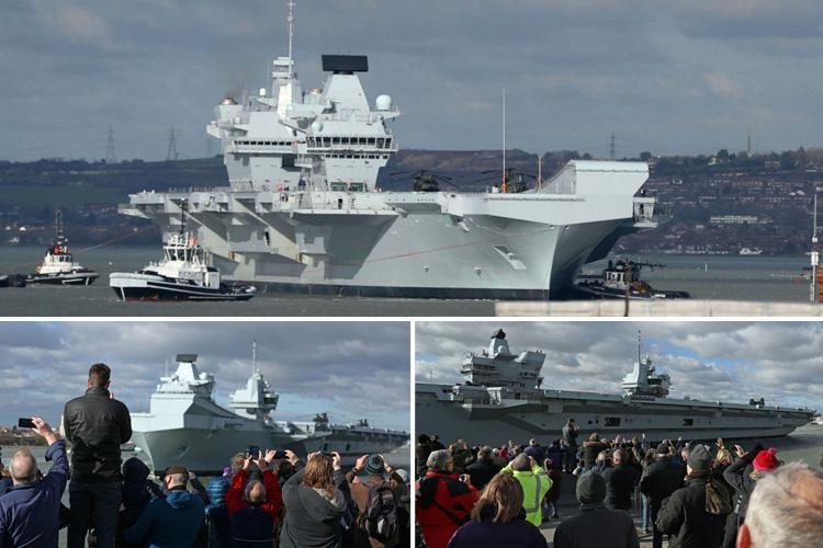 HMS Queen Elizabeth II waved off on way to sea trials as £3bn flagship aircraft carrier proves she's over her teething problems