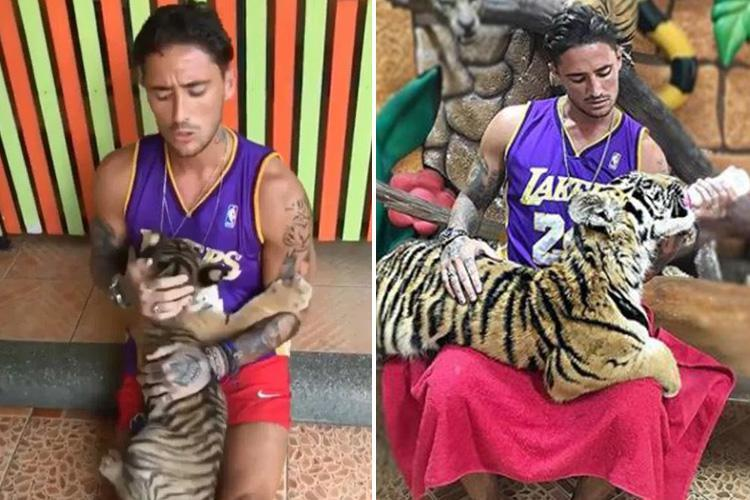 Stephen Bear branded an 'ignorant tool' as PETA slam 'disgusting' picture which shows him bottle-feeding a captive tiger at controversial Thailand zoo