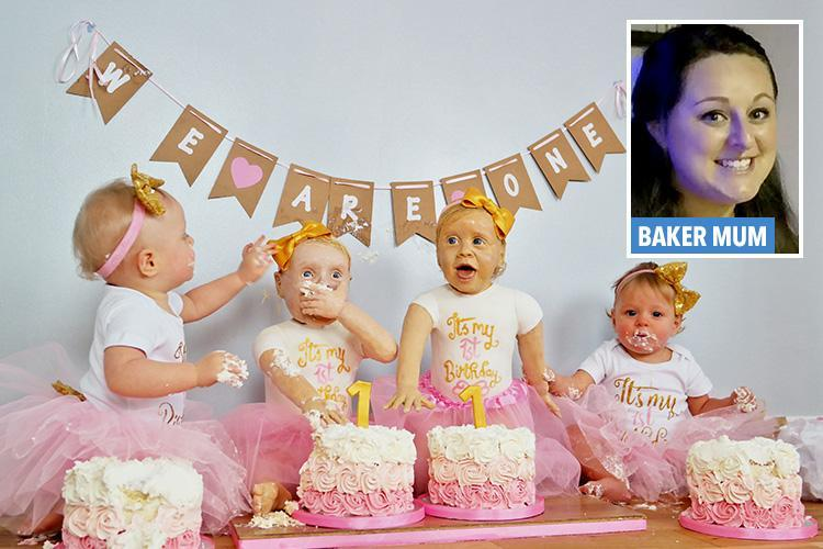 Amateur baker makes life-sized cake versions of her TWIN DAUGHTERS