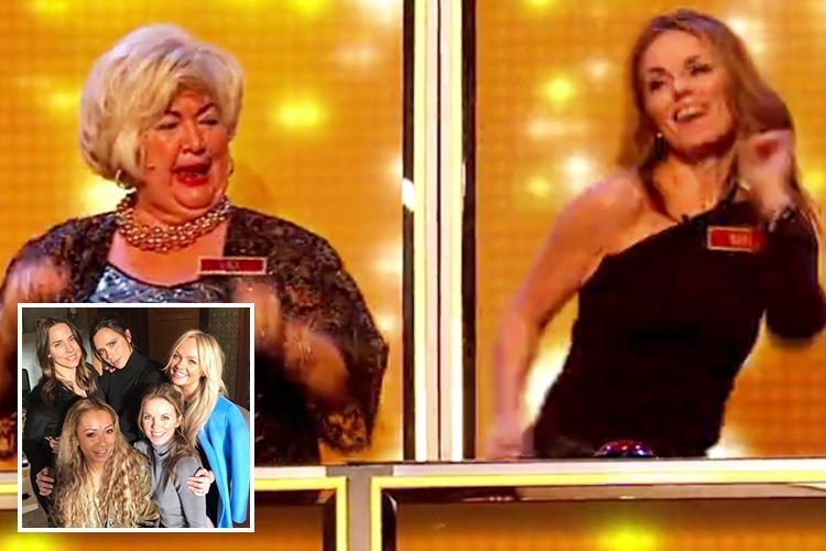 Geri Horner gets her groove on after it's revealed the Spice Girls are reuniting as she lets her hair down with contestants on All Together Now