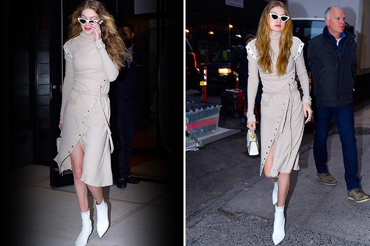 Gigi Hadid stuns in nude dress and retro sunglasses as she steps out in NYC