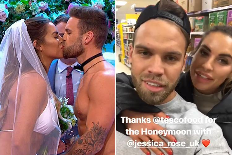 Dom Lever jokes about having a 'budget honeymoon' as he takes Jess Shears to Tesco after they got married on live TV