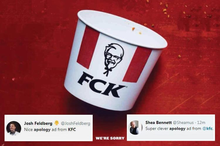 KFC apologises over chicken shortage with cheeky ad – and Twitter LOVES it