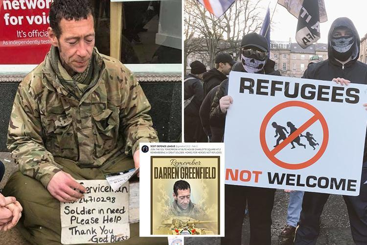 Far-right protesters try to hijack homeless soldier's death to victimise refugees – and are sent packing by squaddie's mates
