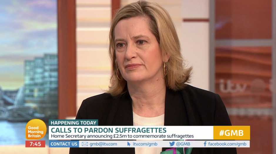 Amber Rudd promises to look at pardoning women who fought for the vote as peer calls for them to be 'celebrated'