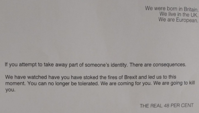 Pro-EU thugs send anonymous death threats to businessmen who gave money to Brexit campaign
