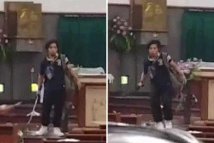 Moment sword-wielding attacker is shot by cops after hacking four worshippers at Indonesian church