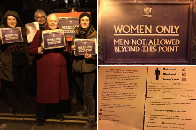 Feminists protest against decision to let transgender women into Hampstead Heath's female only swimming pond