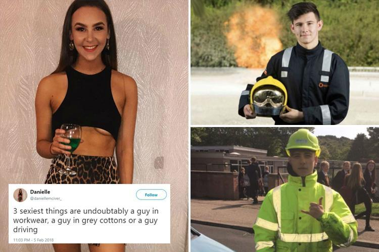 Student nurse, 18, bombarded with photos of men in work gear after revealing how she finds them 'sexy'