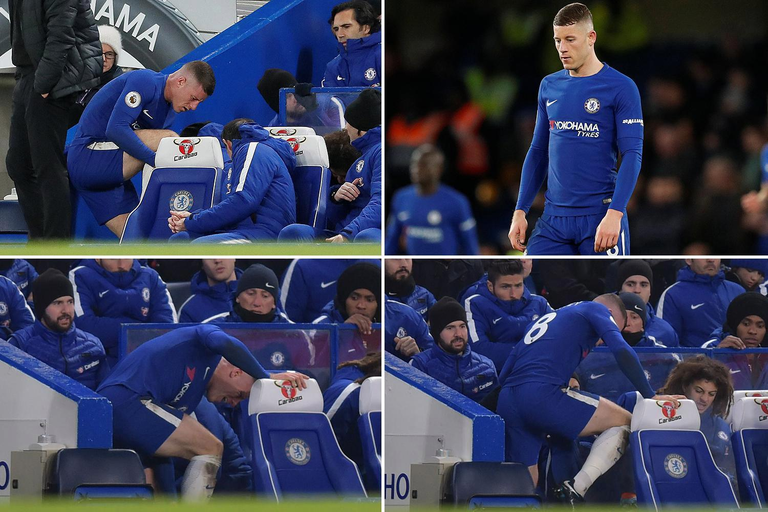 Ross Barkley appears to injured himself on the BENCH after being subbed during Chelsea's shocker against Bournemouth