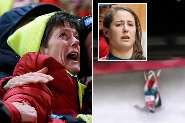 Winter Olympics 2018: US star Emily Sweeney injured in horror 68mph luge crash as mother watches on in tears