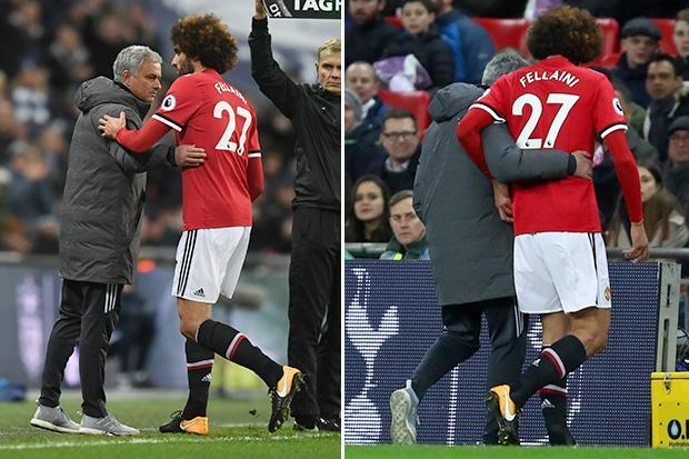 Manchester United news: Marouane Fellaini suffers knee injury as he is subbed off seven minutes after coming on against Tottenham