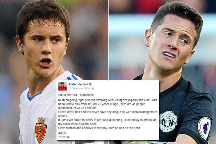 Manchester United star Ander Herrera facing trial over involvement in alleged match fixing scandal