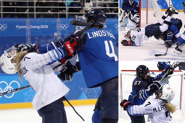 USA and Finland women's ice hockey team come to blows in Winter Olympics in PyeongChang