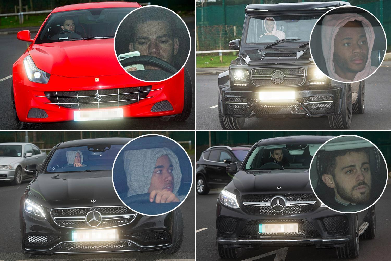 Manchester City stars arrive in plush cars as Raheem Sterling and Co rev up in style for Leicester City