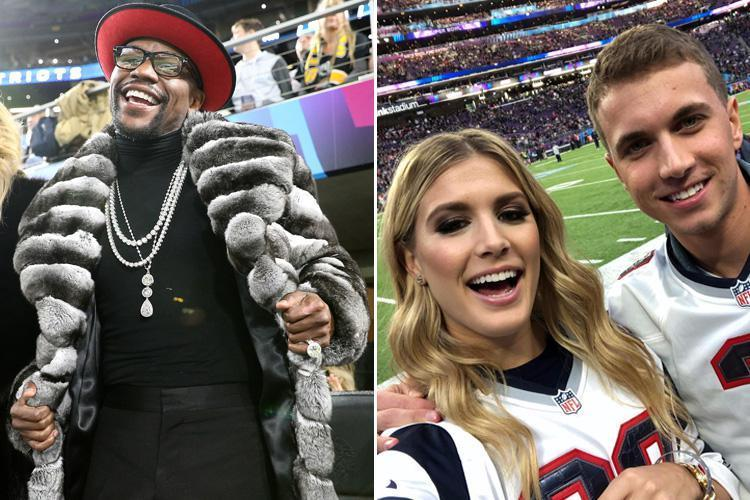 Floyd Mayweather wears striking fur coat and Eugenie Bouchard takes Twitter date as celebs flock to Super Bowl for Philadelphia Eagles win