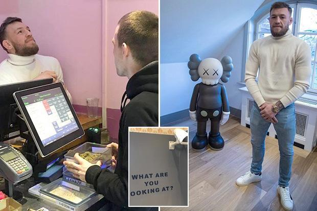 Conor McGregor snapped in Amsterdam cannabis cafe as worker holds massive box of weed in front of UFC star