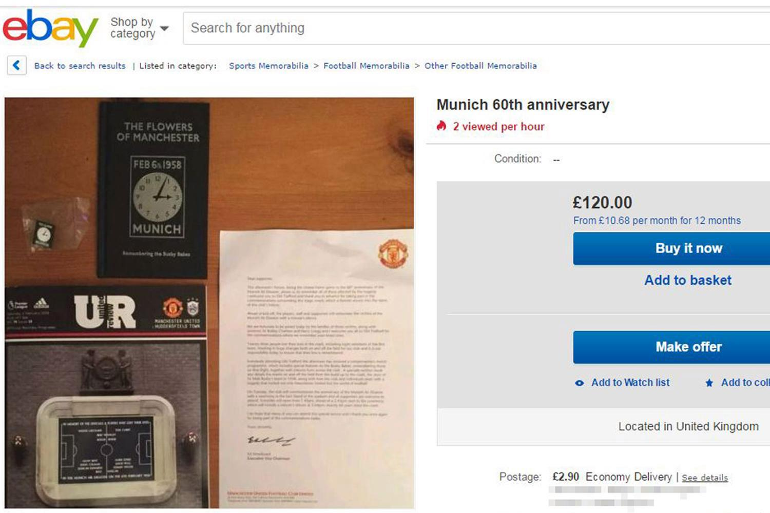Manchester United fans fume as chancers sell free Munich Air Disaster gift mementos on eBay