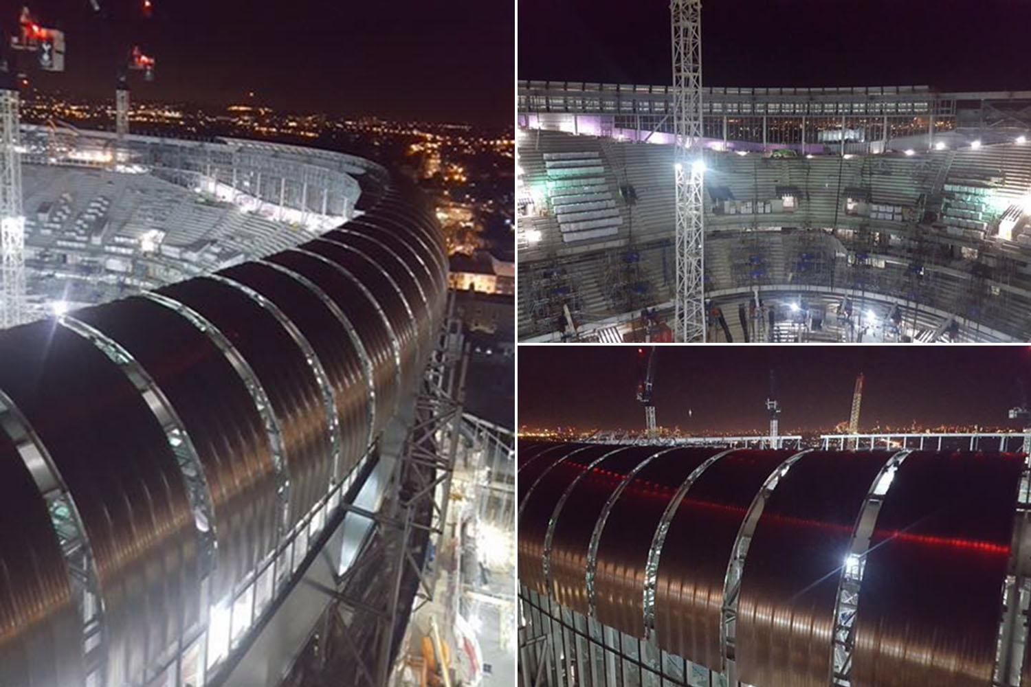 Tottenham's new stadium taking shape as incredible new night-time snaps show off huge development