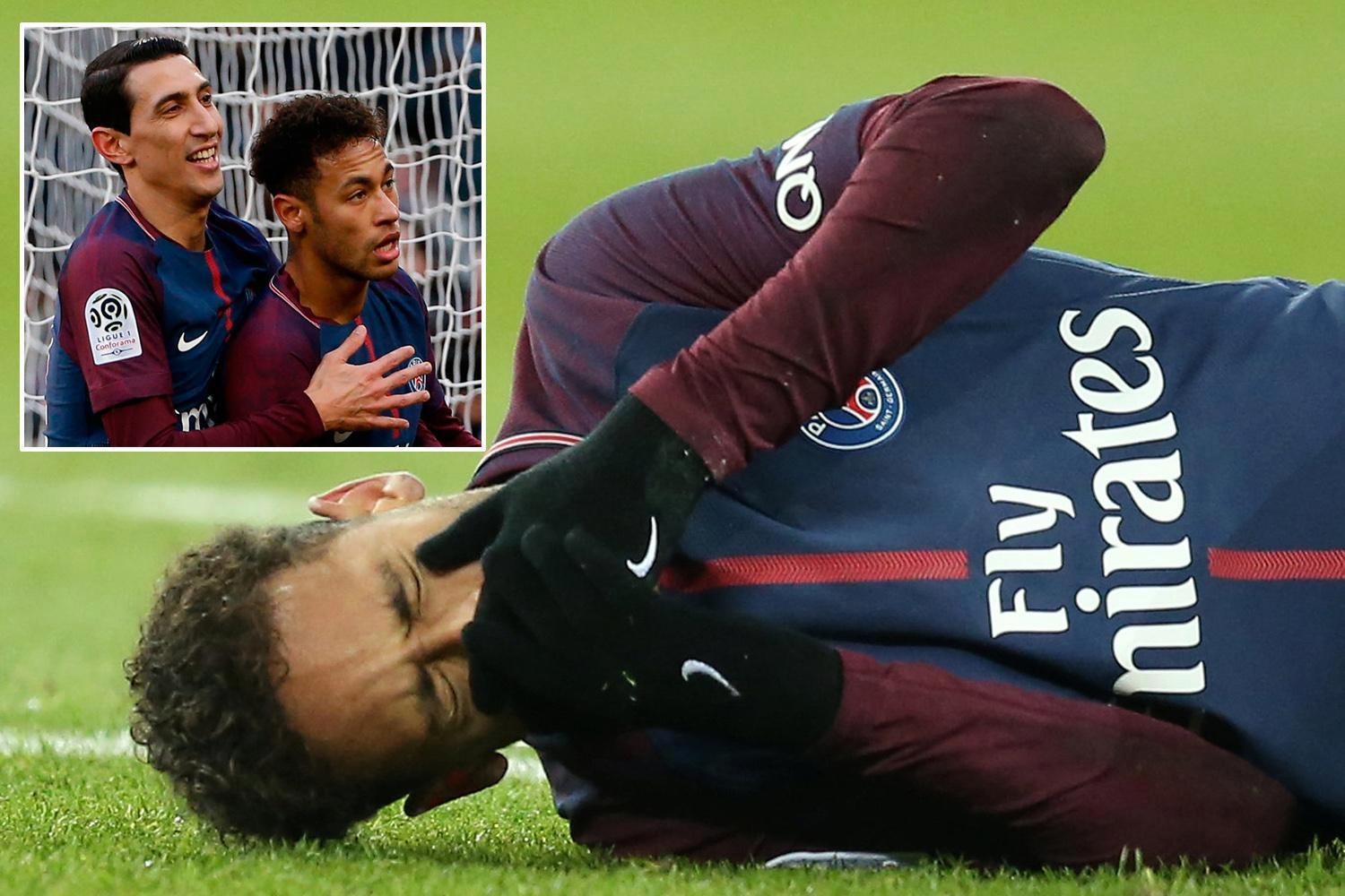Neymar set to be replaced by Angel Di Maria for PSG's Champions League return clash against Real Madrid after metatarsal fracture