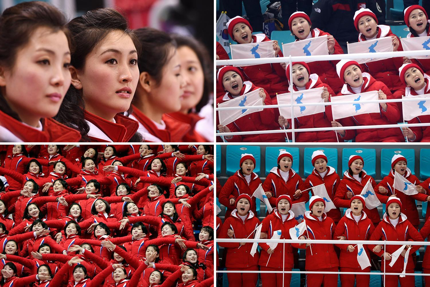 North Korean cheerleaders baffle fans as they chant in perfect sync as united Korean ice hockey team face off in Pyeongchang