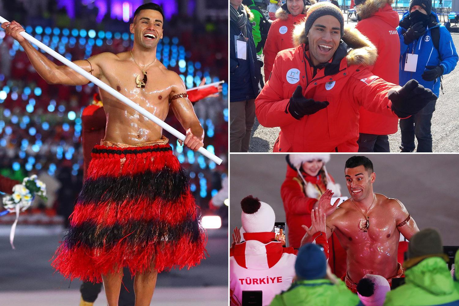 Tonga sensation Patu Taufatofua jokes the world should 'get stronger internet' after his oiled-up, topless opening ceremony appearance 'broke' it
