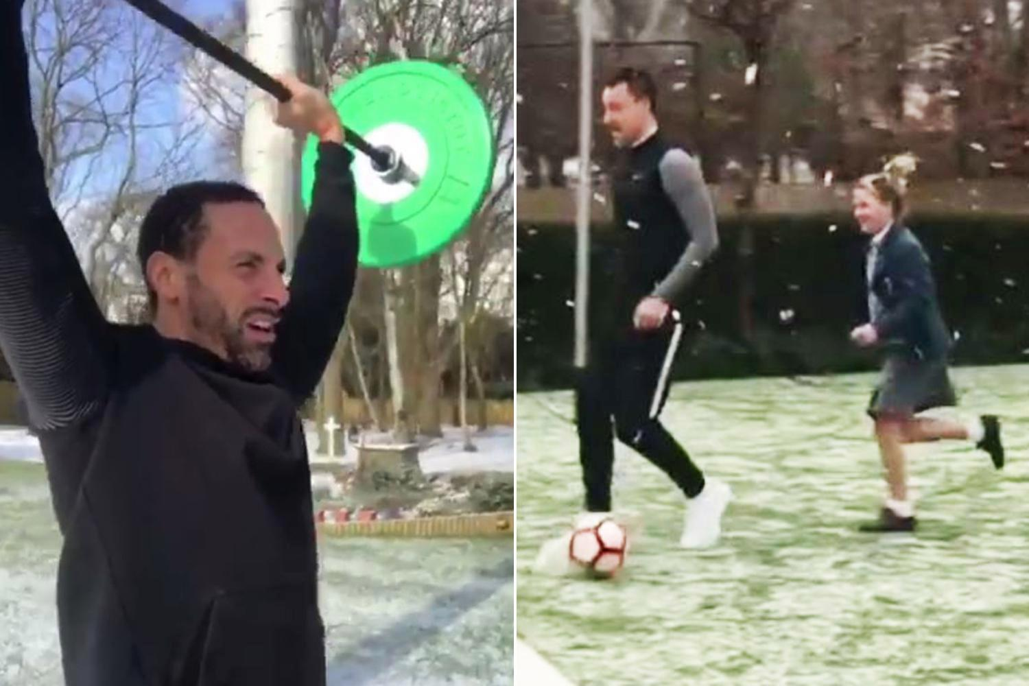 John Terry and Rio Ferdinand train in gardens as 'Beast from the East' snow storms batter Britain