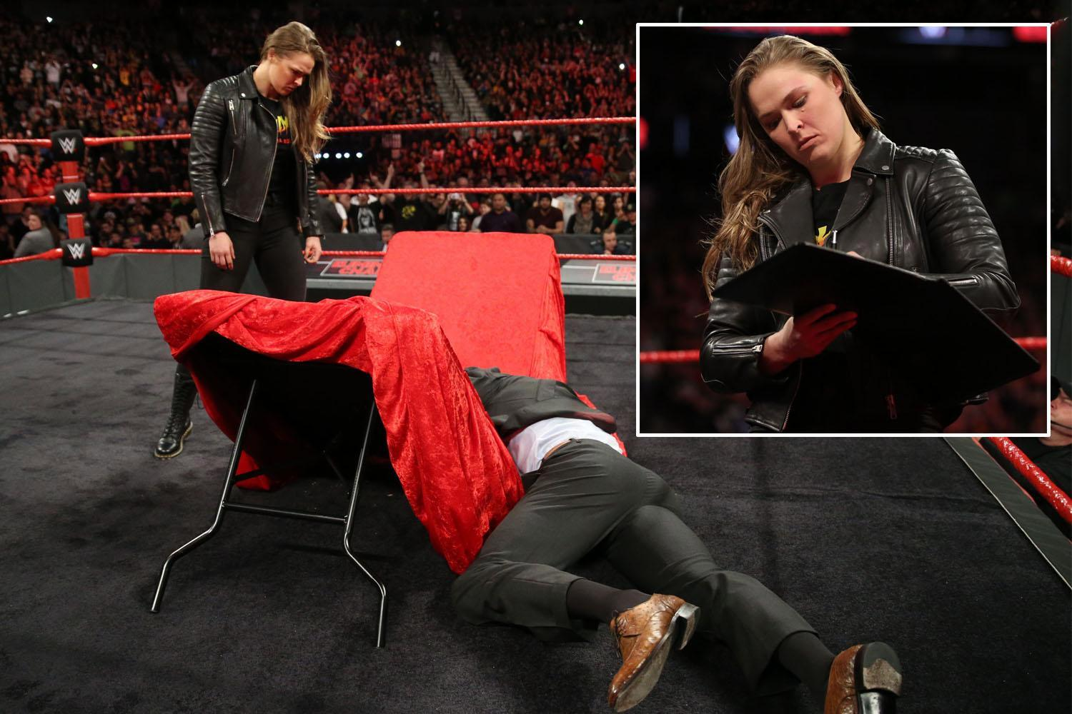 WWE Elimination Chamber: Ronda Rousey holds back the tears before slamming Triple H through a table