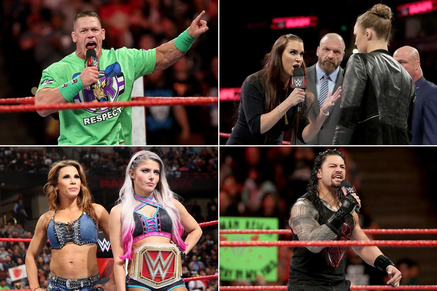 WWE Raw: Ronda Rousey squares up to The Authority, John Cena issues challenge and Roman Reigns lets rip on Brock Lesnar