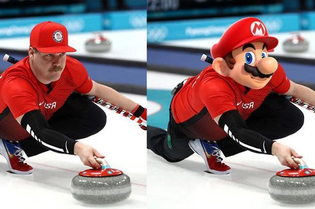2018 Winter Olympics: Curler Matt Hamilton is dubbed Super Mario by even his US team-mates as video star's look-alike takes social media by storm